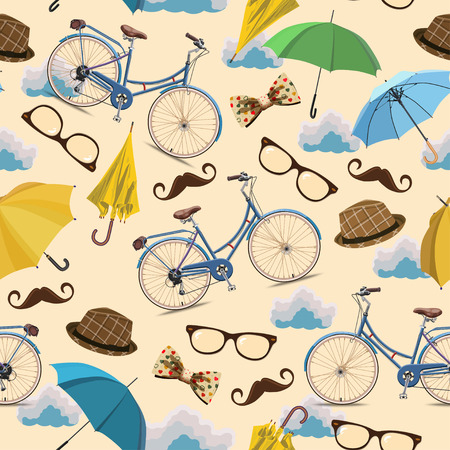 cartoon umbrella: Seamless pattern with blue vintage bicycles, glasses, umbrellas, clouds, bows, hats, mustache on beige background.