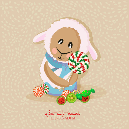 adha: Cute sheep with stars for Muslim community festival Eid-Ul-Adha celebrations. Vintage style. Illustration