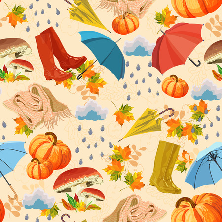 Seamless background with rubber boots, mushroom, umbrella, cloud, rain, leaf, maple, pumpkin, scarf on beige background. Season of rains. Vector
