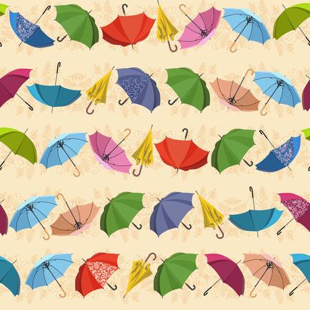 rains: Umbrella. Seamless pattern with umbrellas and leaves on beige background. Autumn texture. Fall. Season of rains. Vector illustration.