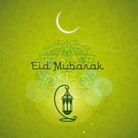 Greeting card design with gold calligraphy, fire and stars for for Muslim community festival Eid Mubarak on green background Ilustração