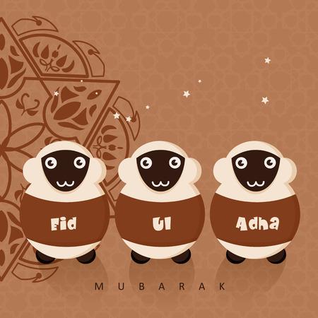 Cute sheep with stars for Muslim community festival Eid-Ul-Adha celebrations. Vintage style. 矢量图像