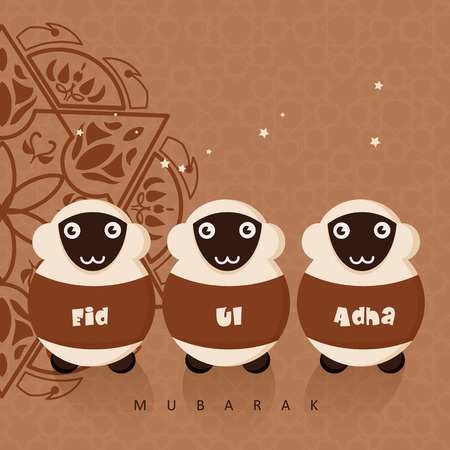 Cute sheep with stars for Muslim community festival Eid-Ul-Adha celebrations. Vintage style. Vettoriali
