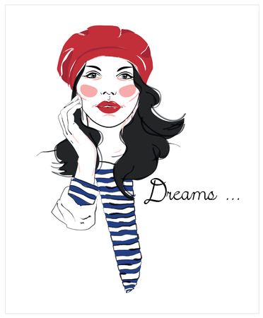 glance: Girl in a red beret. Fashion sketch drawing woman. French style. T-shirt design.