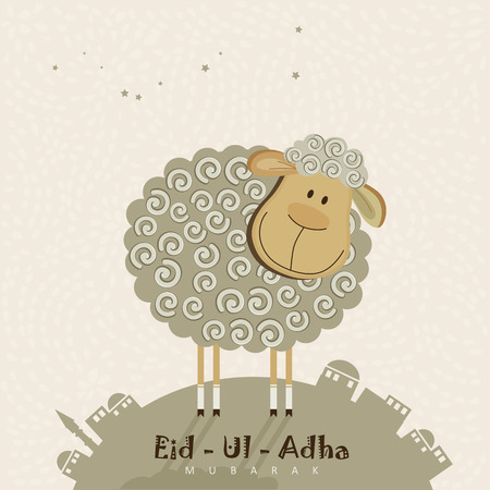 Cute sheep with stars for Muslim community festival Eid-Ul-Adha celebrations. Vintage style. Ilustrace