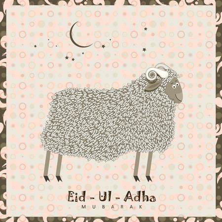 sacrificio: Ovejas lindo con estrellas para festivales comunidad musulmana celebraciones de Eid-Ul-Adha. Estilo vintage.