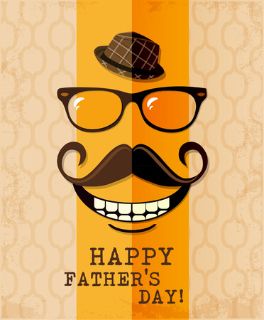 types of glasses: Fathers day card in vintage hipster style