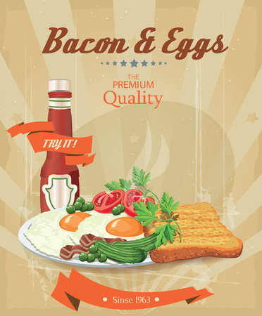 wholemeal: Bacon with fried eggs, green peas, tomatoes, cucumbers and toast Illustration