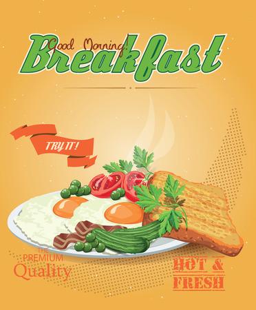 huevos revueltos: Tocino con huevos fritos, guisantes verdes, tomates, pepinos y pan tostado Vectores