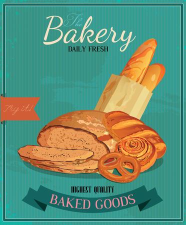 estafette stokje: Poster met brood, wapenstok, Frans stokbrood, broodje, wapenstok en krakeling