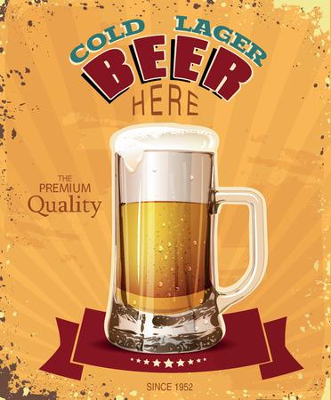 vasos de cerveza: Taza de la pinta de cerveza. Cartel en ilustraci�n de estilo vintage.