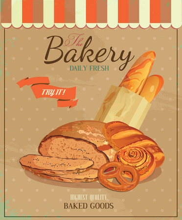 flour mill: Poster with bread, baton, french baguette, bun, baton and pretzel Illustration
