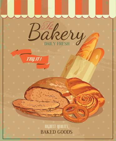 baton: Poster with bread, baton, french baguette, bun, baton and pretzel Illustration