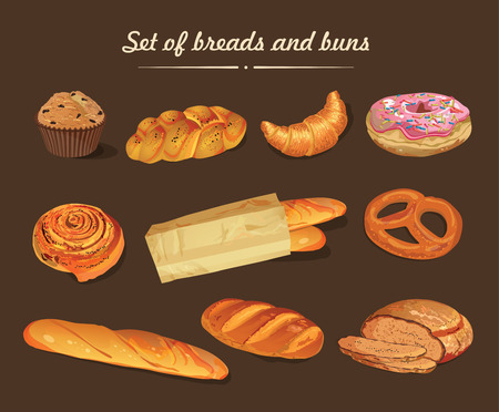 grains: Set of bread and buns illustration.
