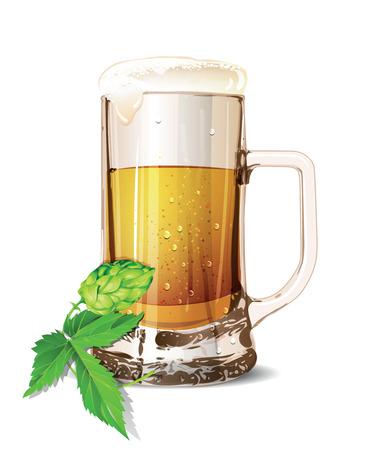 Poster with mug of beer, hops, pretzels, autumn leaves, sausages, beer foam, flag of Germany on background of blue rhombuses