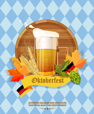 beer party: Oktoberfest greeting card. Poster with mug of beer, hops, pretzels, autumn leaves, sausages, beer foam, flag of Germany on background of blue rhombuses