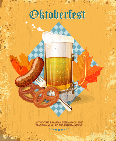Oktoberfest greeting card. Poster with mug of beer, hops, pretzels, autumn leaves, sausages, beer foam, flag of Germany on background of blue rhombuses. Vector illustration.