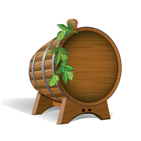 tun: Wooden Barrel with Beer Poster Illustration
