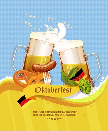 comida alemana: Tarjeta de felicitación de la Oktoberfest. Cartel con jarra de cerveza, el lúpulo, pretzels, hojas de otoño, salchichas, espuma de la cerveza, bandera de Alemania en el fondo de rombos azules