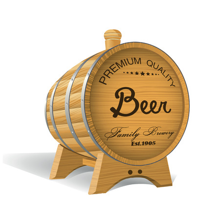 wooden barrel: Wooden Barrel with Beer Poster Illustration