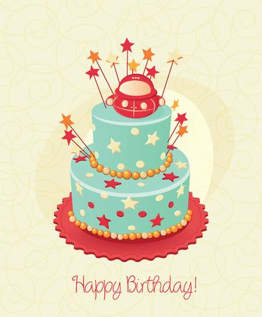 Geburtstagstorte. Poster. Vector. Candle. Standard-Bild - 34992962
