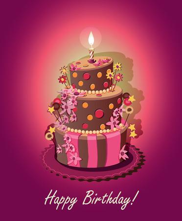 Gâteau d'anniversaire. Affiche. Vector. Bougie. Banque d'images - 34992964