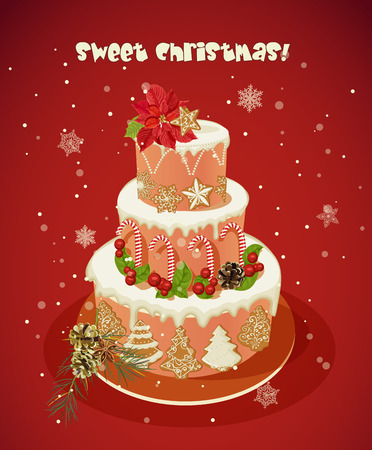 gingerbread cake: Winter christmas cake with gingerbread, candies, berries, snowflakes on red background. New year bakery.