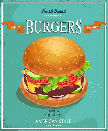 버거. 미국의 전통적인 빈티지 스타일의 포스터 일러스트