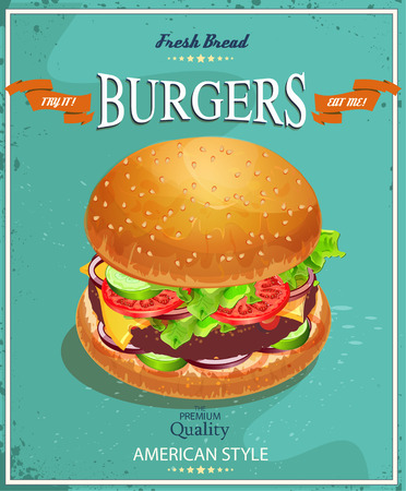 Burger. Poster in Amerikaanse traditionele vintage stijl