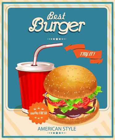 menu design: Burger. Poster in American traditional vintage style