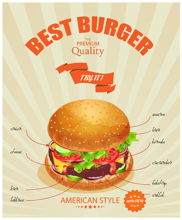 cheese burger: Burger. Poster in American traditional vintage style