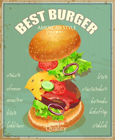 Burger. Affiche dans le style vintage américain traditionnel