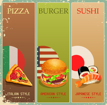 Poster with burger, pizza, sushi in vintage style. Menu. Vector