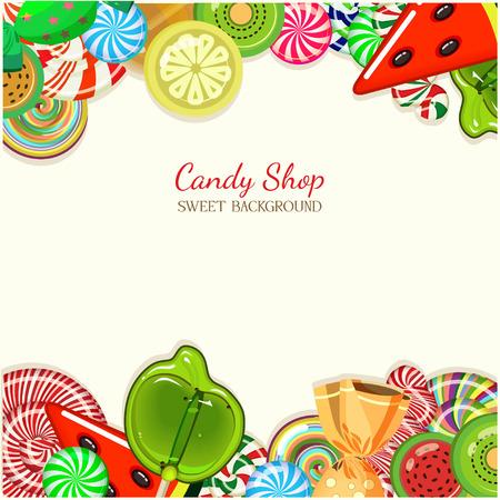 キャンディ ショップ イラスト。ビンテージ スタイルのお菓子と背景。  イラスト・ベクター素材