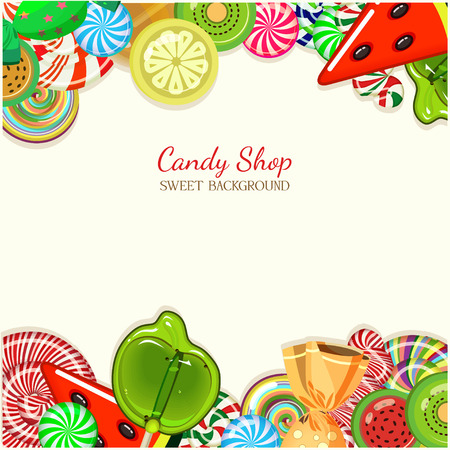 Ilustración Candy shop. Fondo con los dulces en el estilo vintage.