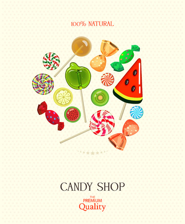 candy shop: Candy shop illustration. Background with sweets in vintage style. Illustration