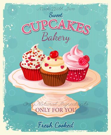 Cupcakes. Poster in vintage stijl. Bruiloft en verjaardag snoep. Stock Illustratie