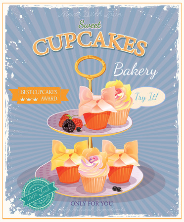 pink cake: Cupcakes. Poster in vintage style. Wedding and birthday sweets.