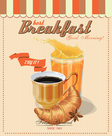 french cafe: Poster with a coffee cup. Croissant. Juice glass. Vector. French cafe. Vintage style.