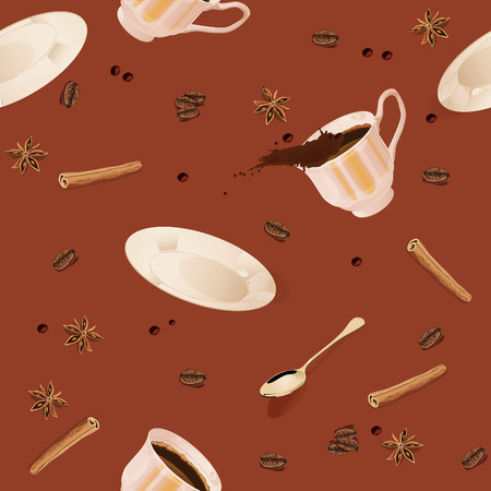 cup and saucer: Seamless pattern. Coffee, cup, saucer, spoon, cinnamon, vanilla, coffee beans, drops, spray.