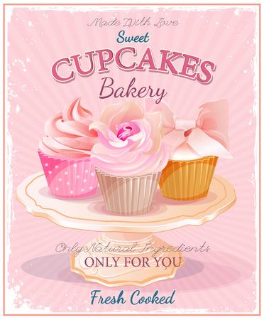 カップケーキ。ビンテージ スタイルのポスター。結婚式や誕生日のお菓子。