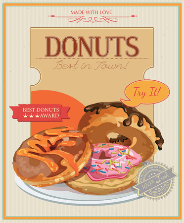 Vintage donuts poster with label. Retro style. Set of donuts. Vector