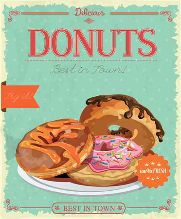 donut shop: Vintage donuts poster with label. Retro style. Set of donuts.