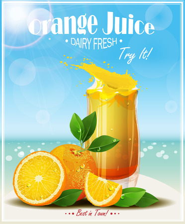 Oranges fruits with green leaves, slices and juice. Realistic vector illustration. Fresh ripe oranges.