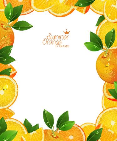 fruited: Frame of oranges and slices. Summer poster. Orange juice.