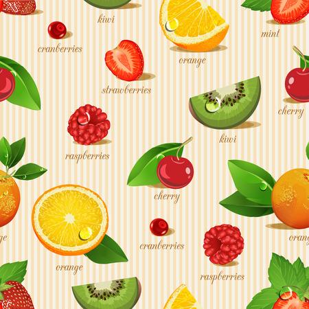 Seamless pattern with fruits. Orange, kiwi, cherry, strawberries, cranberries, raspberries, mint. Vector
