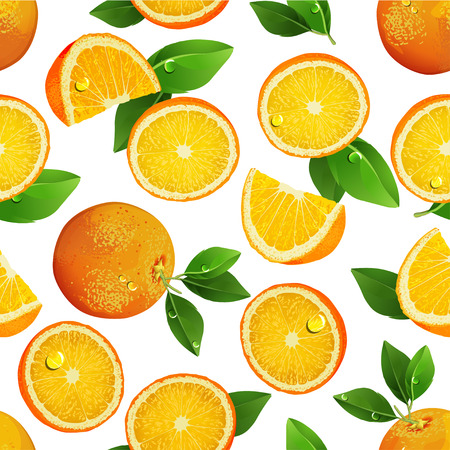 oranges: Seamless pattern with orange. Fruits. Slices. Illustration