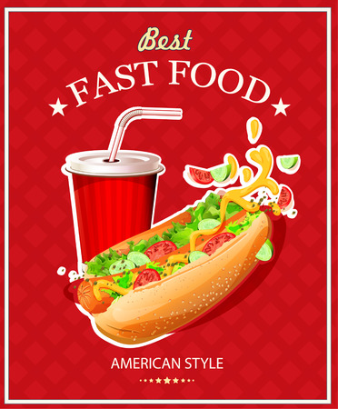 mustard: Hot Dog. Fast Food. Poster in vintage style. Vector illustration. Illustration