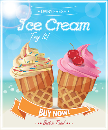 soft ice: Ice Cream Poster. Vector Illustration.