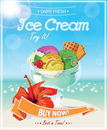 アイスクリームのポスター。ベクトルの図。